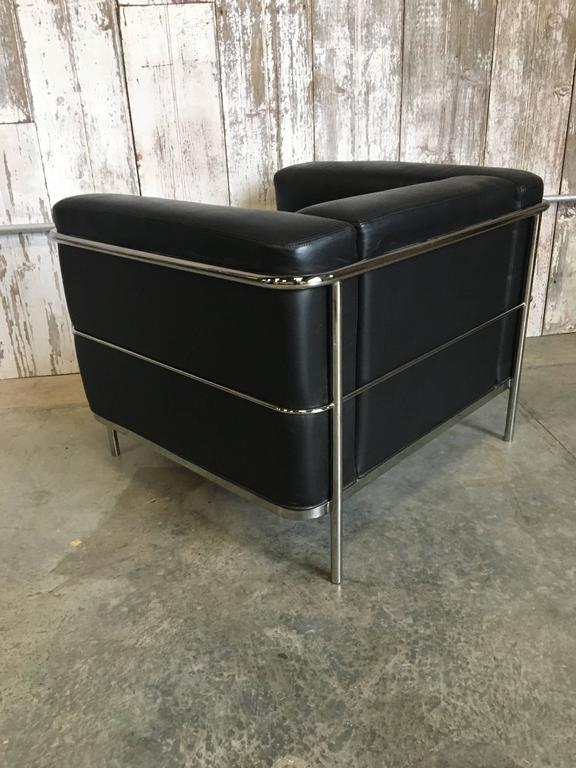 Pair of Lounge Chairs by Jack Cartwright In Black Leather For Sale 2