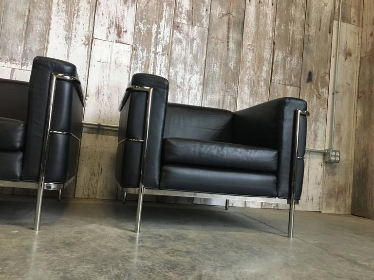 Pair of Lounge Chairs by Jack Cartwright In Black Leather 9
