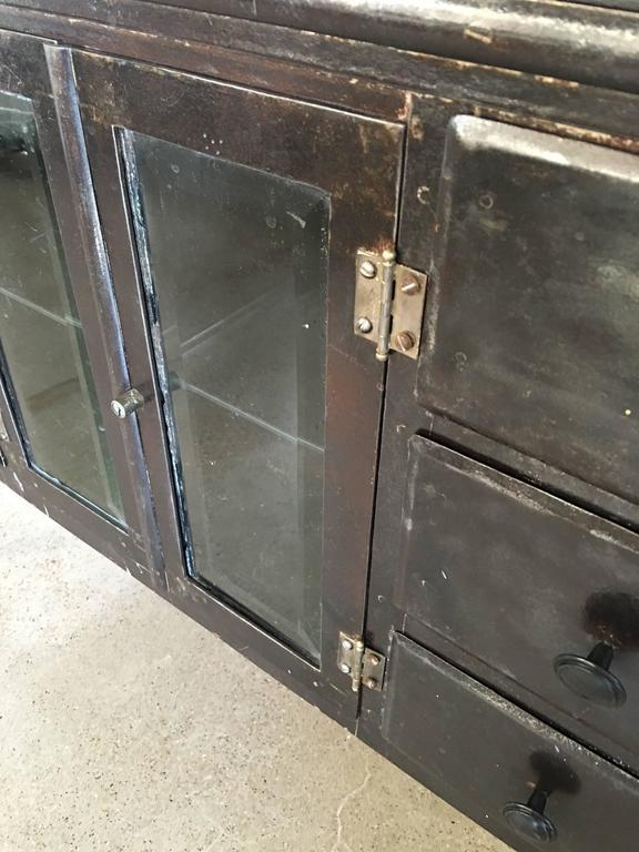 American Modern Vintage Medical Metal Cabinet For Sale