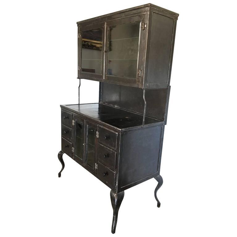 Painted Vintage Medical Metal Cabinet For Sale