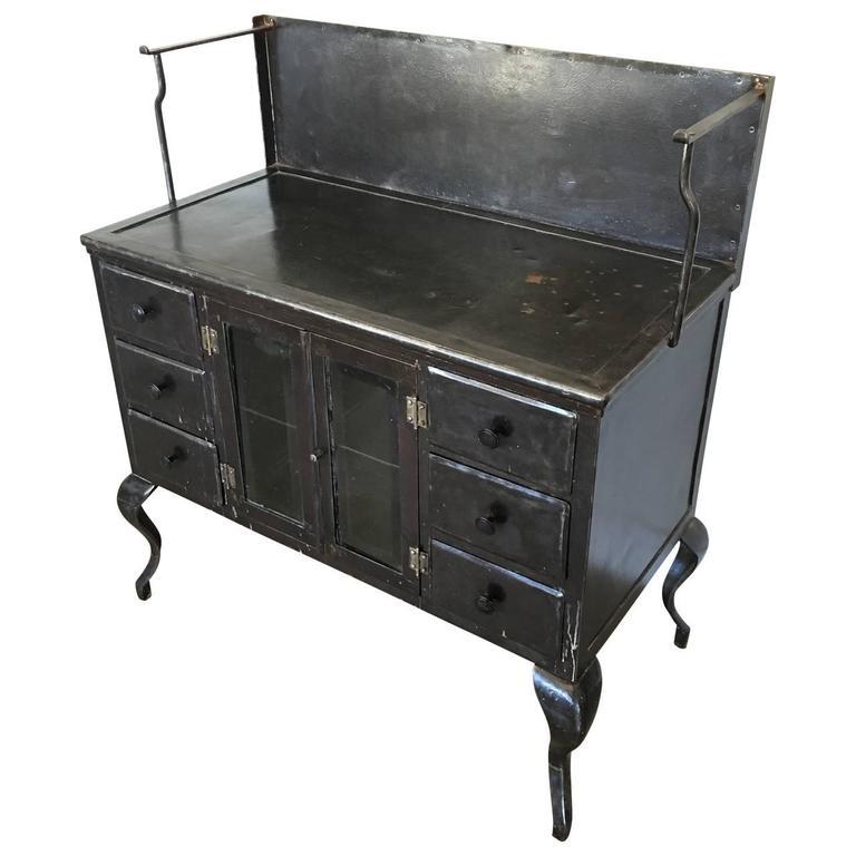 Steel Vintage Medical Metal Cabinet For Sale