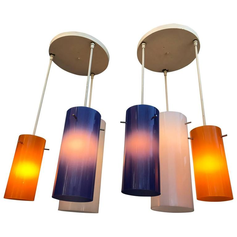 Pair of Two Lucite Blue and Orange Ceiling Lights