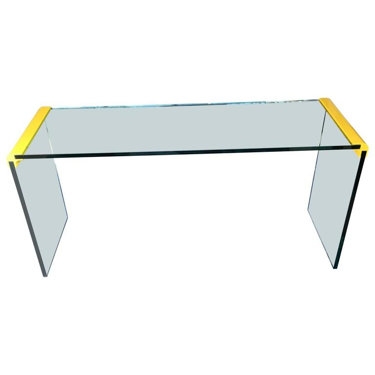 Waterfall Glass and Chrome Table, with a Bright Yellow Twist