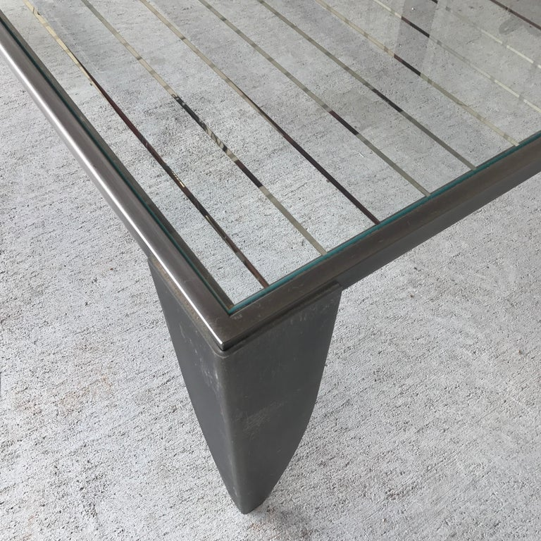 Modern Steel And Glass Top Cocktail Table For Sale 4