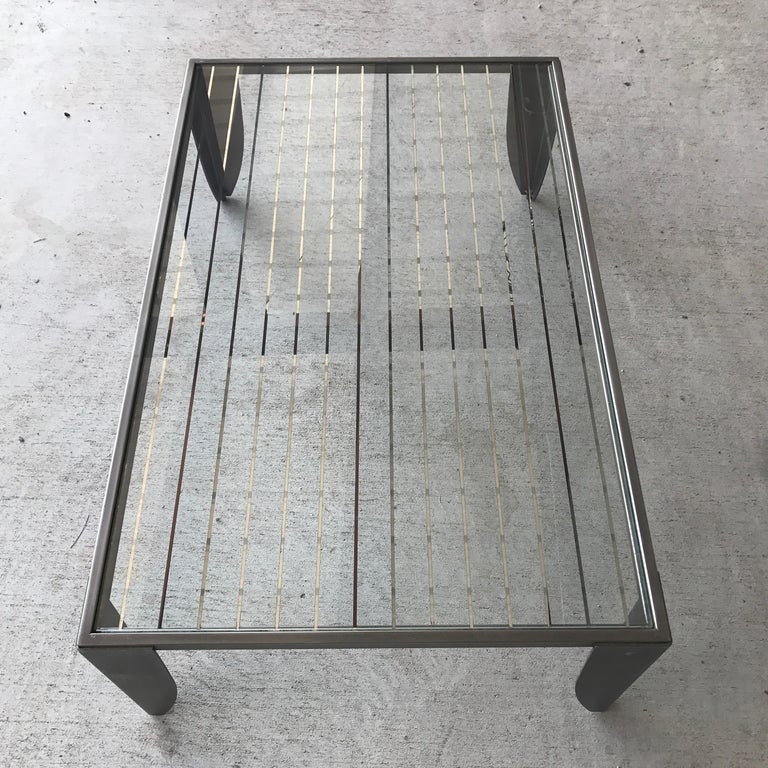 Modern Steel And Glass Top Cocktail Table For Sale 2