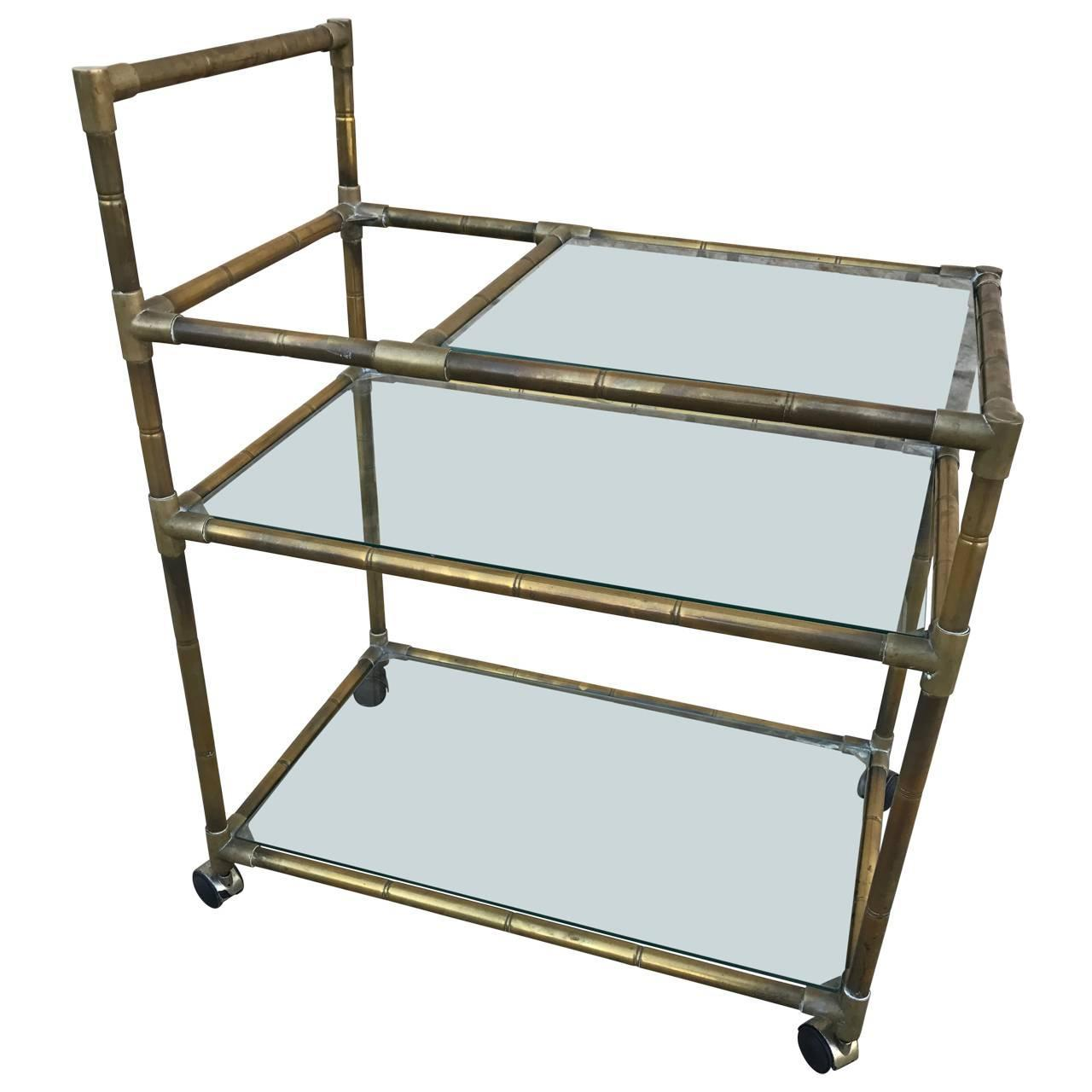 1960s, Swedish Polished-Nickel, Faux-Bamboo Bar Cart on Casters For ...