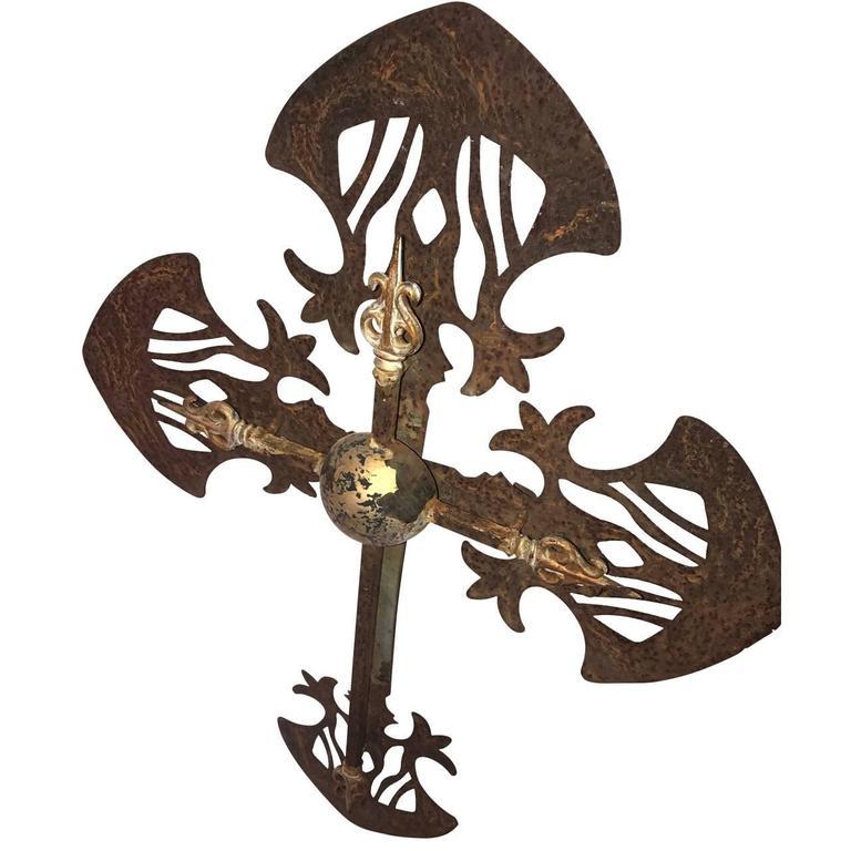 Large French iron garden cross