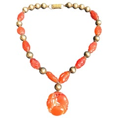 Vintage Chinese Carnelian Silver Necklace