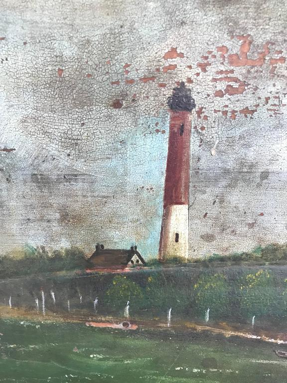 Large 19th Century Marine Painting of a Lighthouse and Sailboat In Good Condition For Sale In Haddonfield, NJ