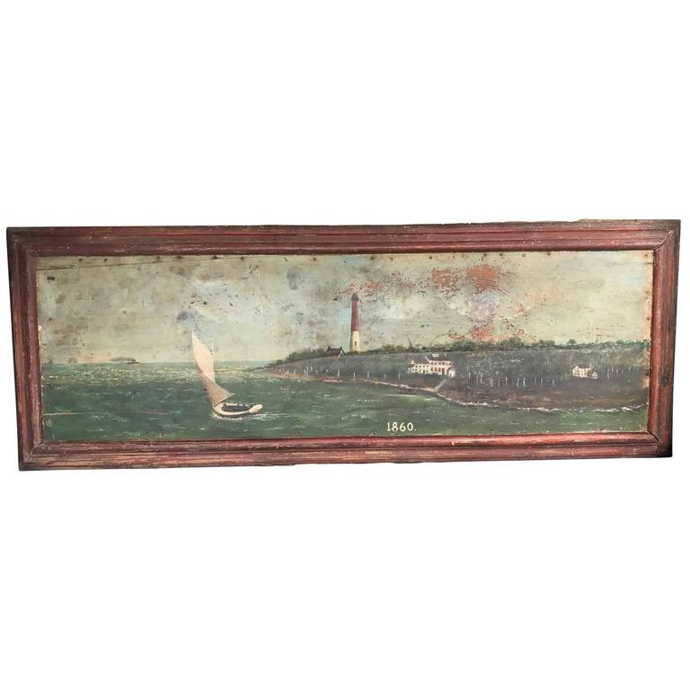 Large 19th Century Marine Painting of a Lighthouse and Sailboat For Sale