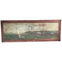Large 19th Century Marine Painting of a Lighthouse and Sailboat