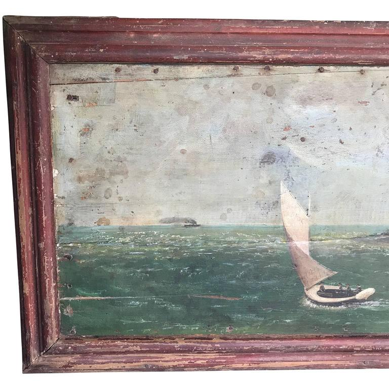 Large nautical painting of a presumable North East bay area, dated 1860.