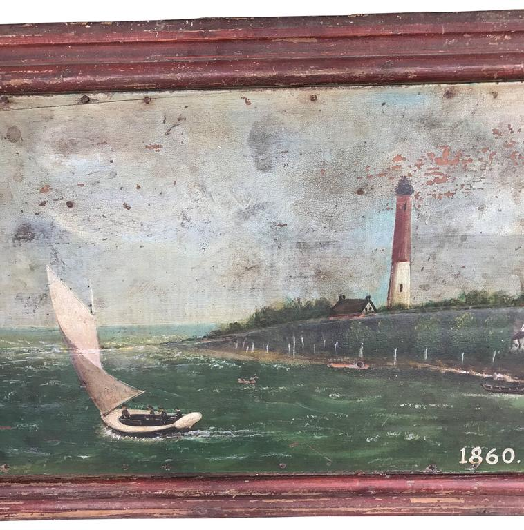 Folk Art Large 19th Century Marine Painting of a Lighthouse and Sailboat For Sale