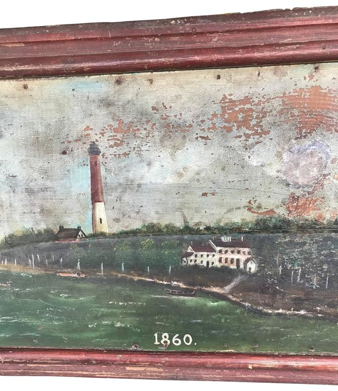Large 19th Century Marine Painting of a Lighthouse and Sailboat For Sale 3