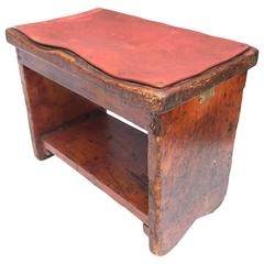 Vintage Wooden Shoe-Polishers Footstool