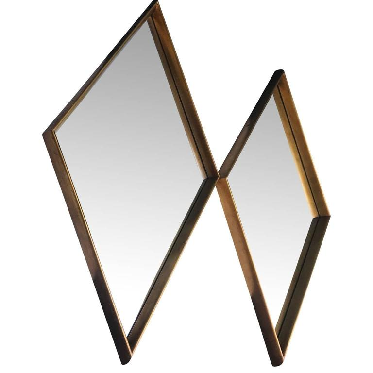 Pair Of Mid-Century Modern Diamond Shaped Mirrors In Good Condition For Sale In Haddonfield, NJ