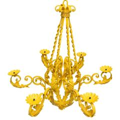 Mid-Century Yellow Metal Chandelier
