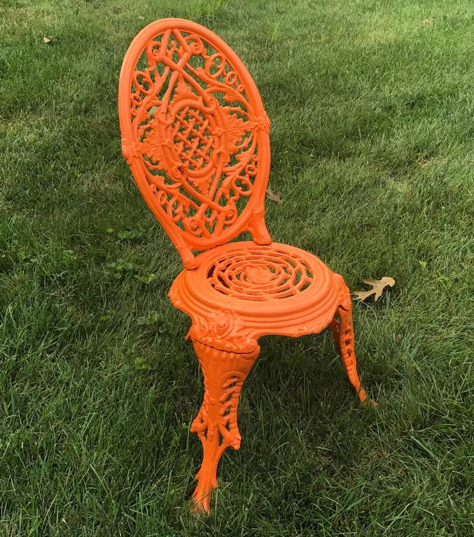 Early 20th Century Orange Cast Iron Garden Chair For Sale 1
