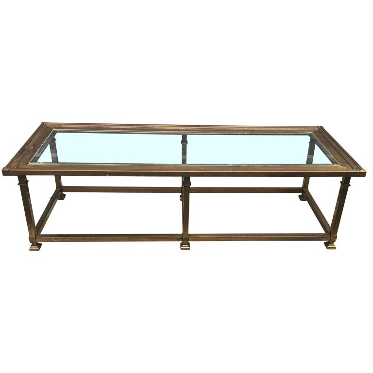 Rectangular Mid-Century Modern Brass Cocktail Table For