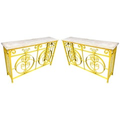 Pair of Yellow Metal Garden Stone-Top Consoles