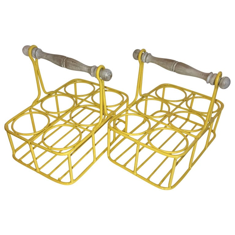 Set of two wine racks or planters in bright sunshine yellow.