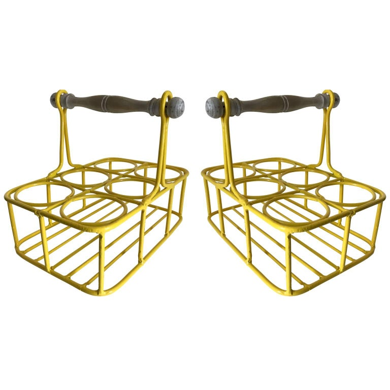 20th Century Set of Two Wine Racks or Planters in Bright Sunshine Yellow For Sale