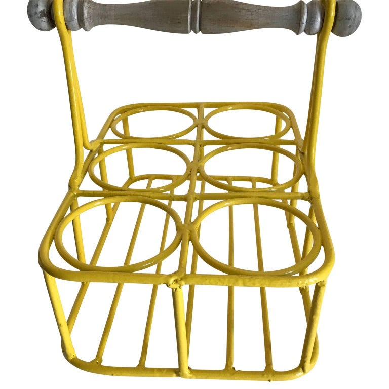 Iron Set of Two Wine Racks or Planters in Bright Sunshine Yellow For Sale