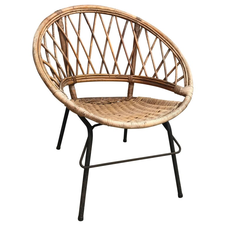 Hand-Crafted French Vintage Wicker Loop Chair For Sale