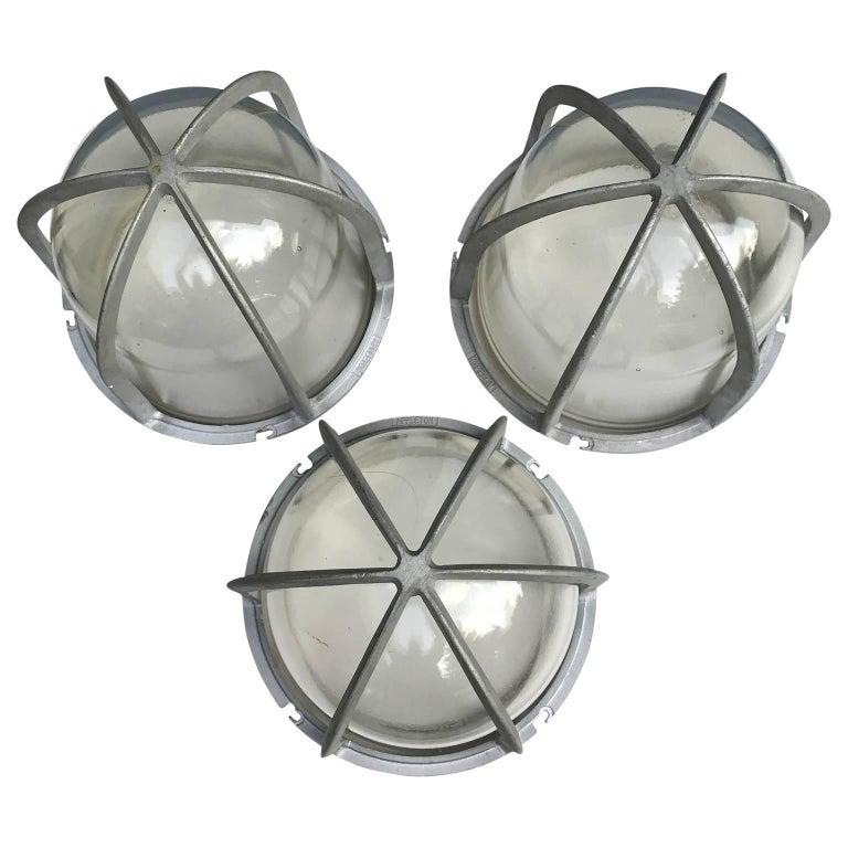 American Set of Three Large Industrial Appleton Blast-Resistant Ceiling Lamps For Sale