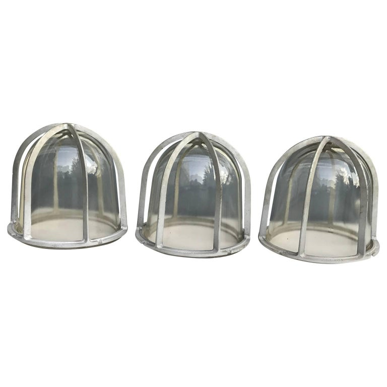 Cast Set of Three Large Industrial Appleton Blast-Resistant Ceiling Lamps For Sale