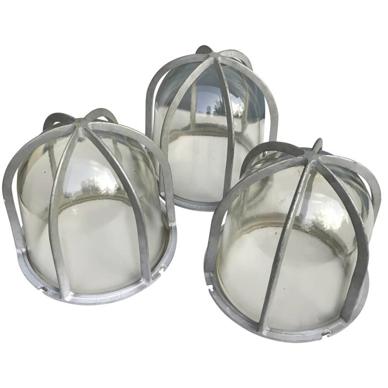 Set of Three Large Industrial Appleton Blast-Resistant Ceiling Lamps In Good Condition For Sale In Haddonfield, NJ