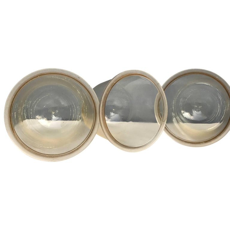 Glass Set of Three Large Industrial Appleton Blast-Resistant Ceiling Lamps For Sale