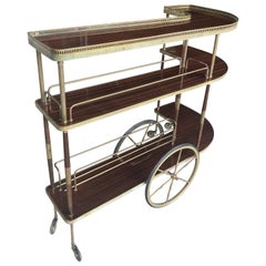 Three-Tiered Mahogany and Brass Bar Cart, 1940s, France