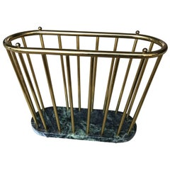 Italian Mid-Century Modern Brass And Marble Magazine Rack