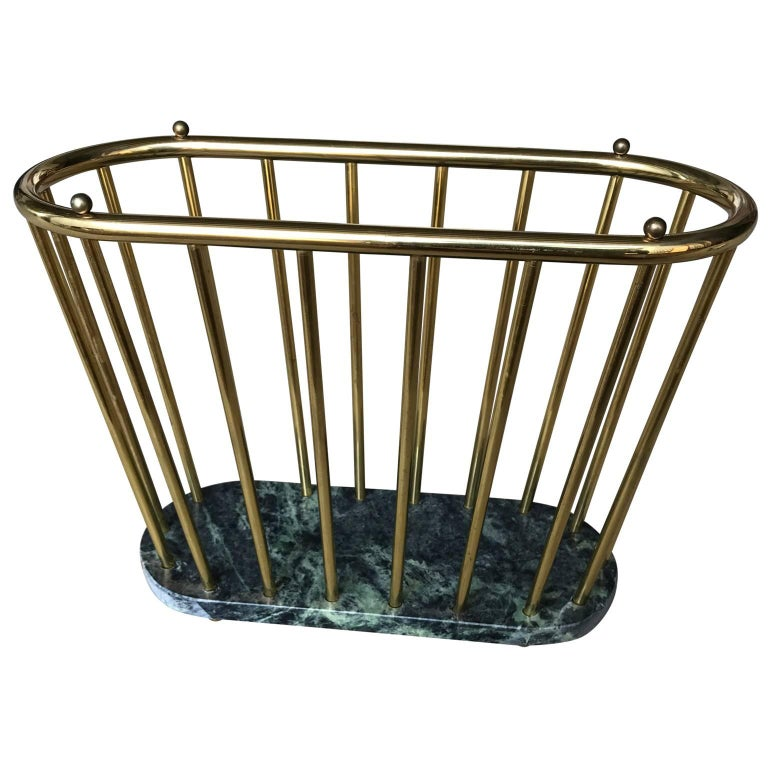 Midcentury Brass and Marble Magazine Rack For Sale