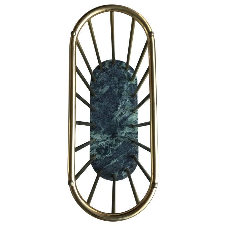 Italian Midcentury Brass and Marble Magazine Rack For Sale