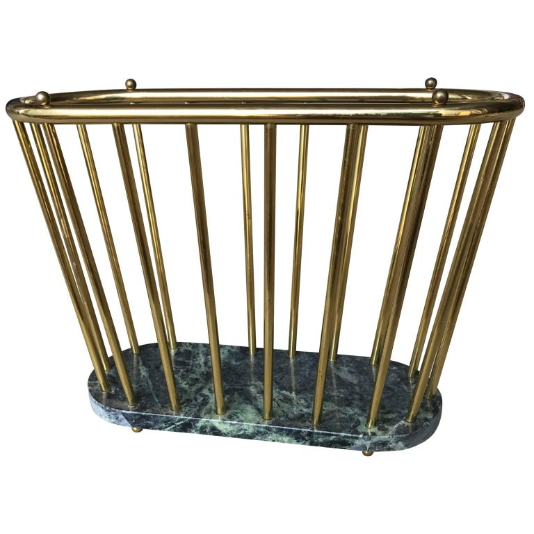 Mid-Century Modern Midcentury Brass and Marble Magazine Rack For Sale