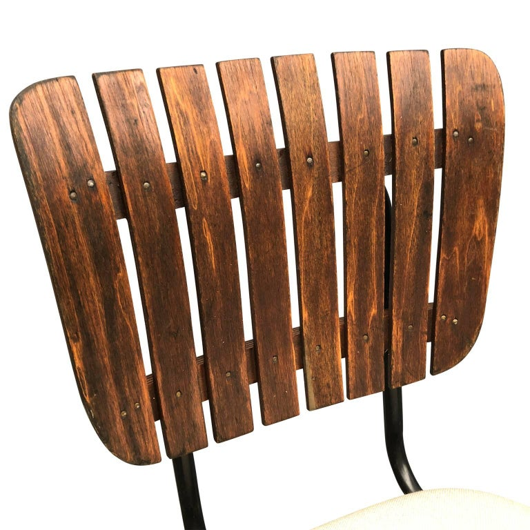 Three Arthur Umanoff Style Upholstered And Wood Bar Stools