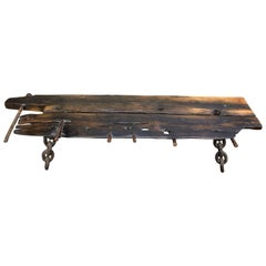 M. Stalker Long Studio Bench from Shipwreck Wood and Chain