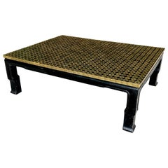 Midcentury Asian Bronze Coin Coffee Table Black Lacquered
