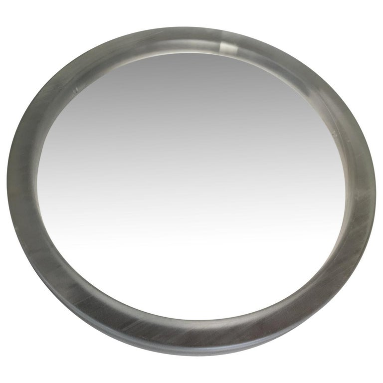 Pair of Large Modern Lucite Round Mirrors For Sale 5
