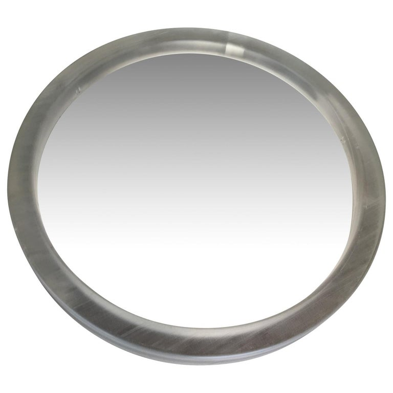 Pair of Large Modern Lucite Round Mirrors For Sale 6
