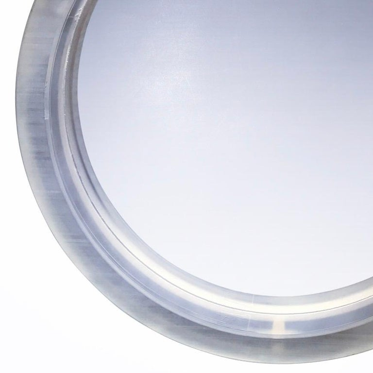 Pair of Large Modern Lucite Round Mirrors For Sale 14