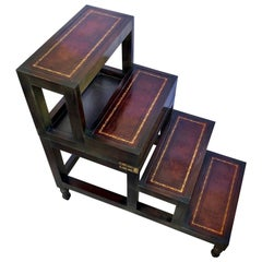 Metamorphic Library Steps And End Table With Gilt Incised Leather