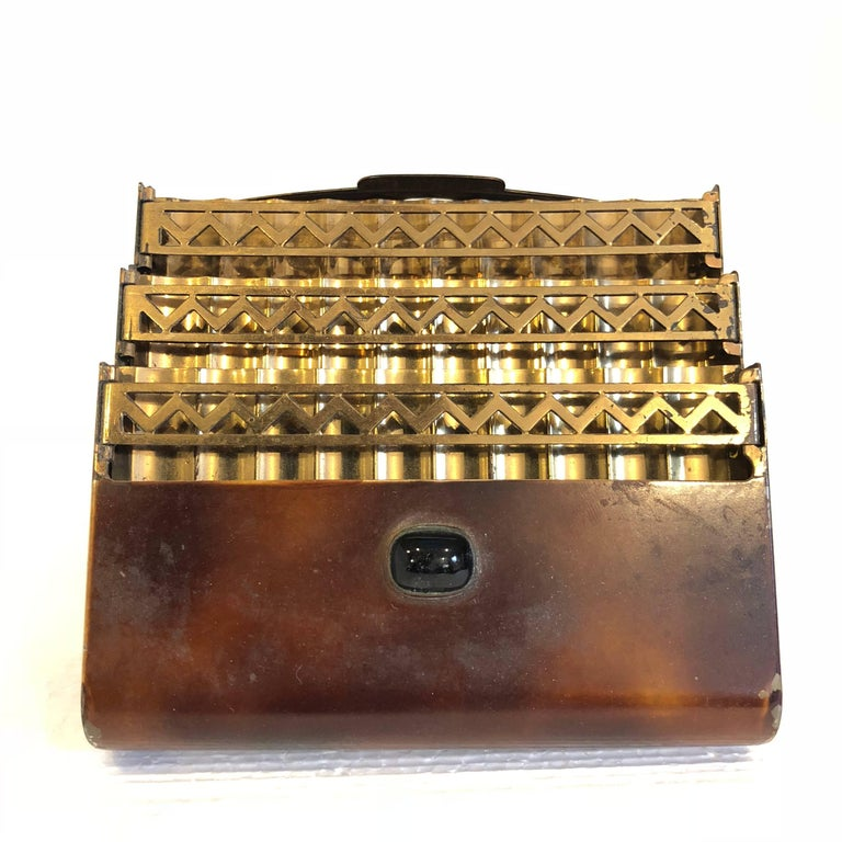 Vintage French Brass Art Deco Cigarette Holder Case For Sale 1