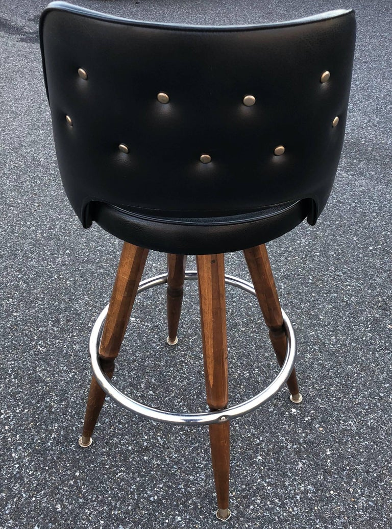 Set of Three Black Faux-Leather Bar Stools 1