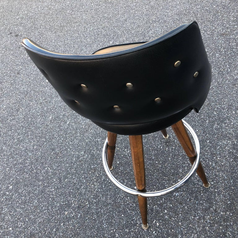 Set of Three Black Faux-Leather Bar Stools 3