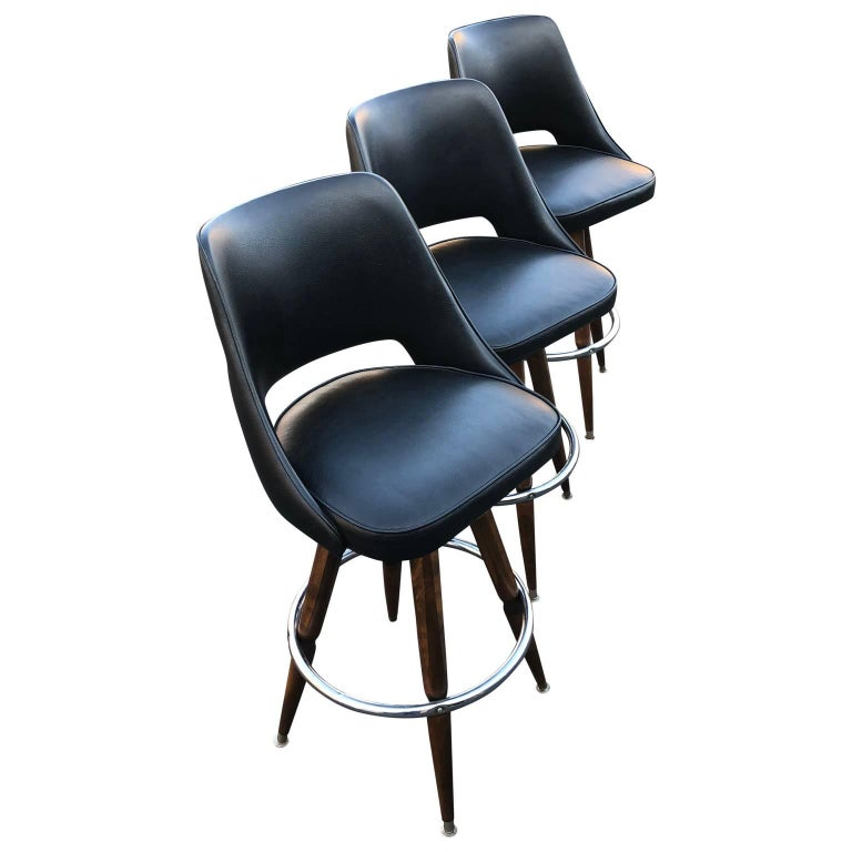 American Set of Three Black Faux-Leather Bar Stools