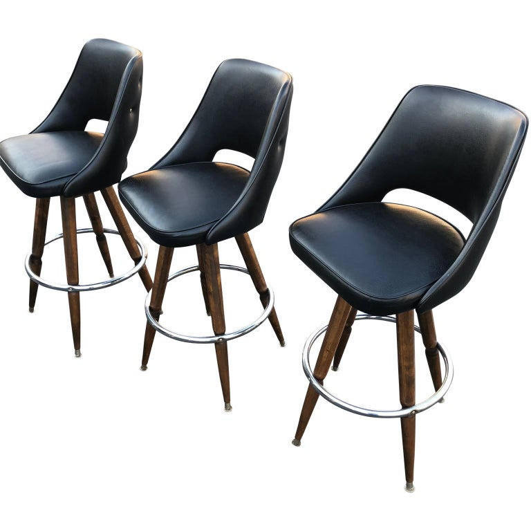 20th Century Set of Three Black Faux-Leather Bar Stools