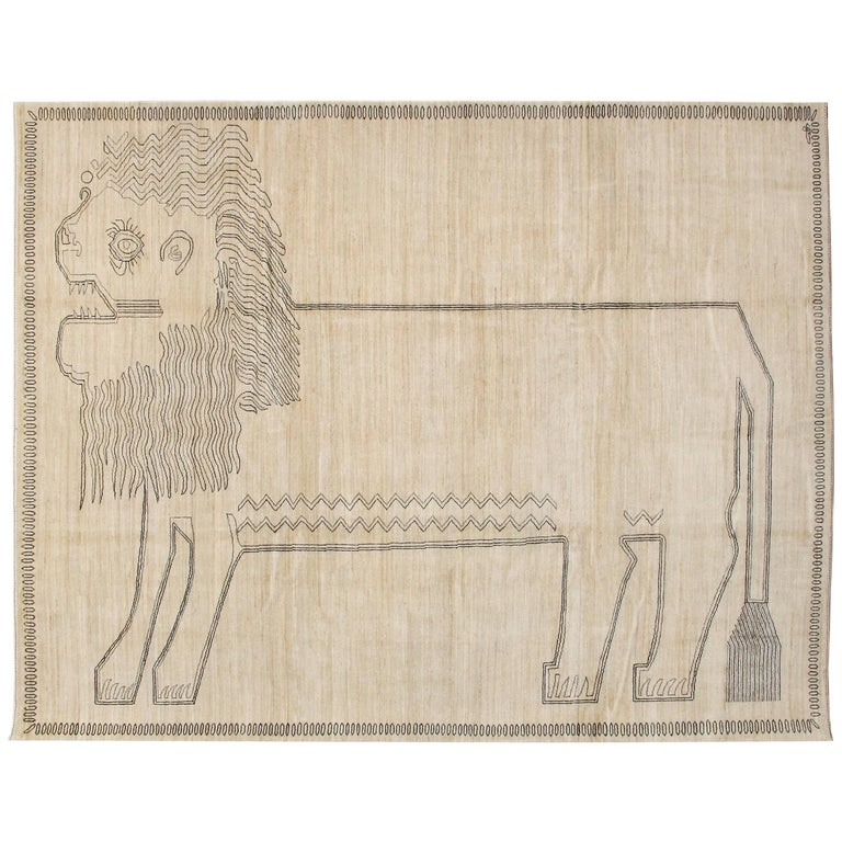 """Orley Shabahang Signature """"Lion"""" Carpet in Handspun Wool and Vegetable Dyes For Sale"""